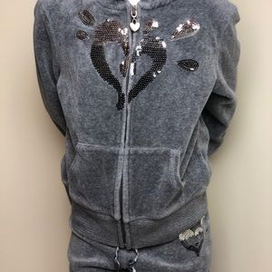 Justice Gray Jogging Suit with Sequins